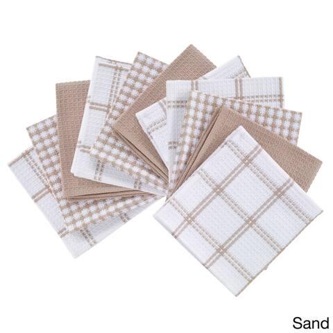 T-Fal Textiles 12-piece Flat Waffle Cotton Kitchen Dish Cloth Set