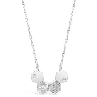 Sterling Silver Floating Octagons Necklace with Diamond Accent