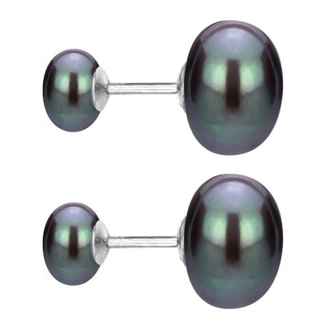 DaVonna Sterling Silver Front and Back Interchangeable 8-8.5mm and 10-11mm White Button Shape Freshwater Pearls Stud Earrings