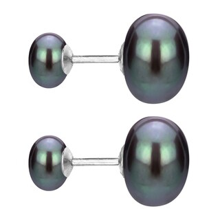 DaVonna Sterling Silver Front and Back Interchangeable 8-8.5mm and 10-11mm White Button Shape Freshwater Pearls Stud Earrings|https://ak1.ostkcdn.com/images/products/15628952/P22061071.jpg?_ostk_perf_=percv&impolicy=medium