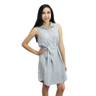 Relished Women's Blue Striped Collar Tie Waist Dress