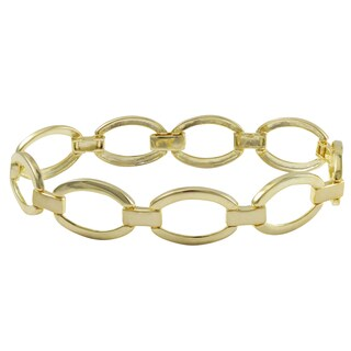 Luxiro Gold Finish Sterling Silver Oval Link Bracelet