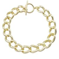 Luxiro Gold Finish Sterling Silver Link Toggle Bracelet