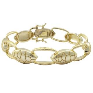 Luxiro Gold Finish Sterling Silver Snake Link Bracelet
