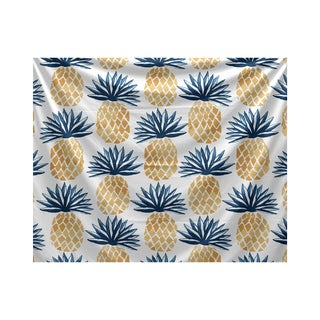 Pineapple Stripes, Geometric Print Tapestry (Option: Green)