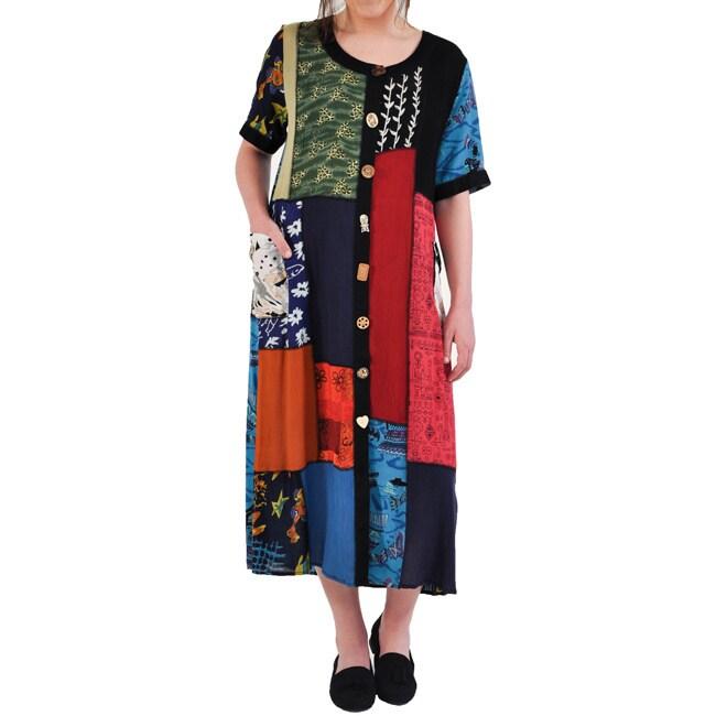La Cera Womens Patchwork Dress