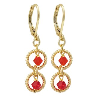 Luxiro Gold Finish Red Crystal Bead Children's Dangle Earrings