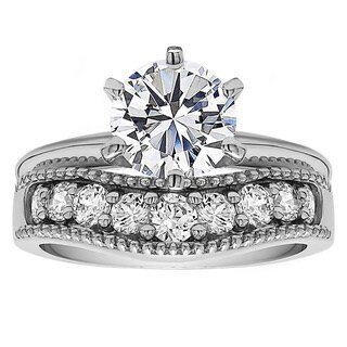 Curved Wedding Ring Set Includes: 1 CT. Round CZ Solitaire With Sterling Silver Band With Cubic Zirc (More options available)