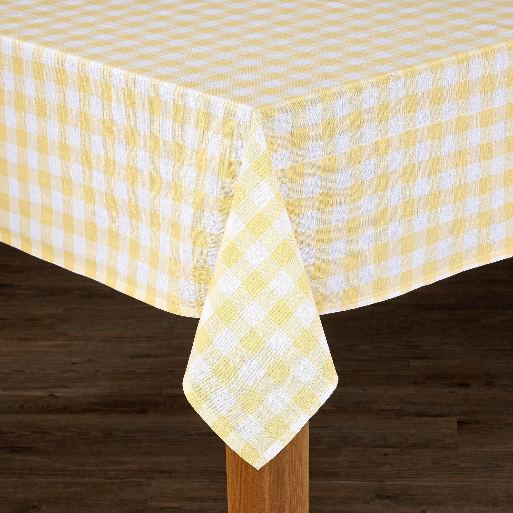 Good Buffalo Check Cotton Imported Tablecloth (Yellow 52x52), .