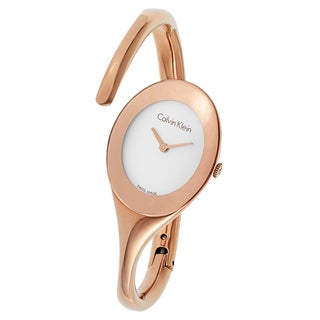 Calvin Klein Women's Embrace Stainless Steel Rose Gold PVD Coated Silver Tone Swiss Quartz Watch