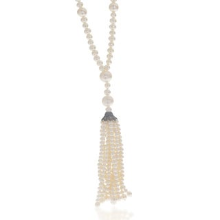 Pearls For You Women's Sterling Silver White 3- to 10-millimeter Freshwater Pearl 36-inch Tassel Necklace