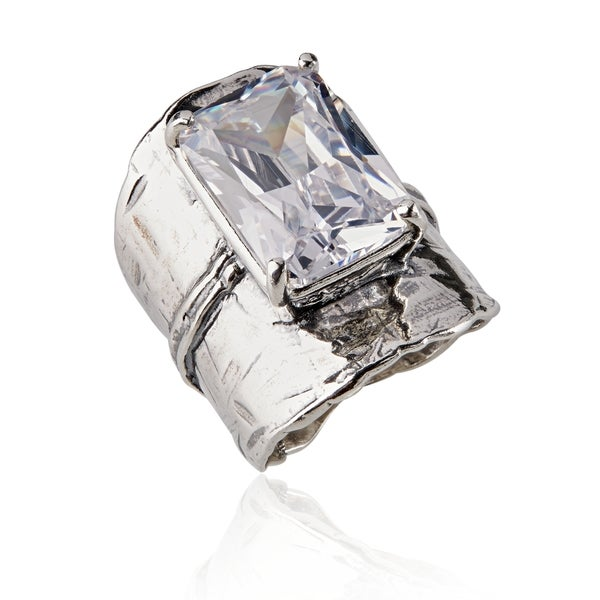 881ddf5096a Shop Handmade Sterling Silver Cubic Zirconia Ring (Israel) - Free ...