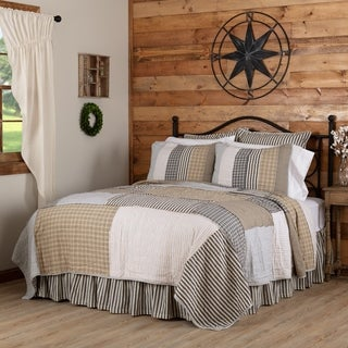 Grey Farmhouse Bedding VHC Ashmont Quilt Cotton Reverse Seams Seersucker