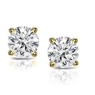 Original Classics Yellow Plated Sterling Silver 1/2ct TDW Diamond IGL Certified Stud Earrings (H-I, I2-I3)