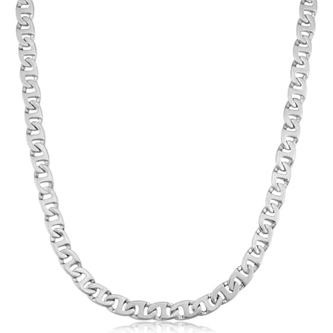 Fremada Rhodium Plated Sterling Silver Link Men's Necklace (7 mm, 24 inches)