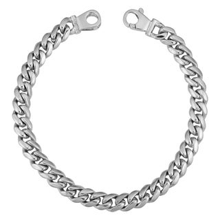 Fremada Rhodium Plated Sterling Silver Hand Made Curb Link Men's Bracelet (7.4 mm, 8.5 inches)