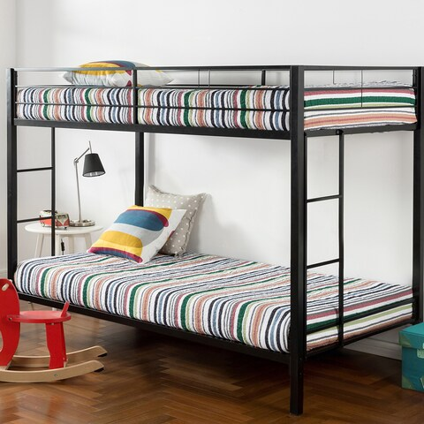 Priage Quick Lock Twin Over Twin Classic Metal Bunk Bed