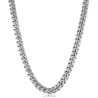 Fremada Rhodium Plated Sterling Silver Hand Made Curb Link Men's Necklace (7.4 mm, 24 inches)
