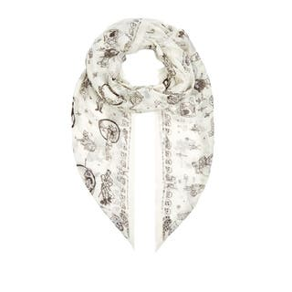 Alexander McQueen White Circus Tricks Silk Scarf|https://ak1.ostkcdn.com/images/products/15629756/P22061778.jpg?impolicy=medium