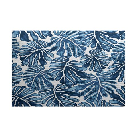 Palm Leaves Floral Print Indoor/Outdoor Rug