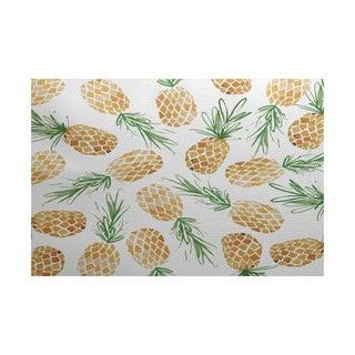 Tossed Pineapples, Geometric Print Indoor/Outdoor Rug