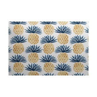 Pineapple Stripes, Geometric Print Indoor/Outdoor Rug