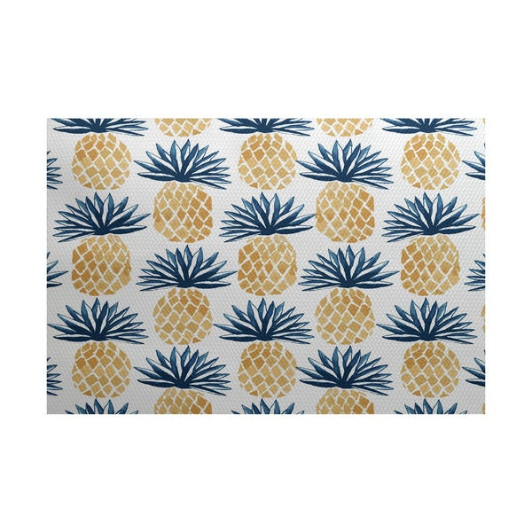 Shop Pineapple Stripes Geometric Print Indoor Outdoor Rug