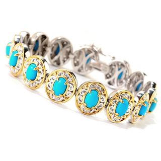 Michael Valitutti Palladium Silver Oval Sleeping Beauty Turquoise North-South Tennis Bracelet (2 options available)