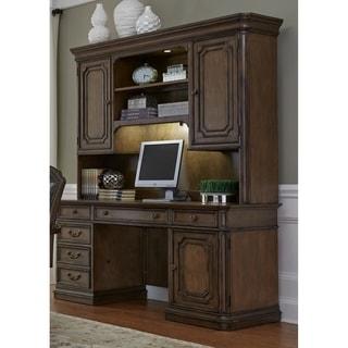 amelia jr antique toffee executive credenza desk and hutch