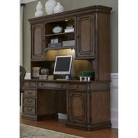 Amelia Antique Toffee Jr. Executive Credenza and Hutch