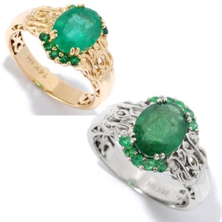 Michael Valitutti 14K Gold Zambian Emerald Scrollwork Ring