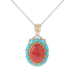 Michael Valitutti Palladium Silver Red Bamboo Coral & Sleeping Beauty Turquoise Pendant|https://ak1.ostkcdn.com/images/products/15629952/P22062003.jpg?impolicy=medium
