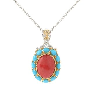 Michael Valitutti Palladium Silver Red Bamboo Coral & Sleeping Beauty Turquoise Pendant