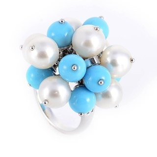18k White Gold, Turquoise, and Pearl Cluster Ring