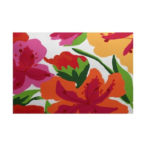 Tropical Floral, Floral Print Indoor/Outdoor Rug