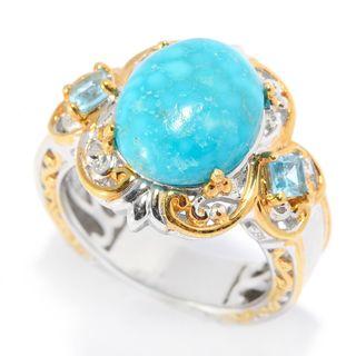 Michael Valitutti Palladium Silver Bird's Eye Turquoise & Swiss Blue Topaz Scrollwork Ring