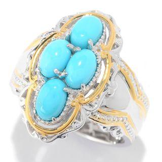 Michael Valitutti Palladium Silver Sleeping Beauty Turquoise Milgrain Detailed Four-Stone Ring