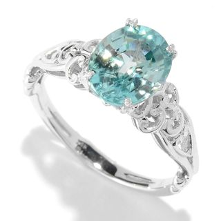 Michael Valitutti 14K White Gold Blue Zircon Solitaire Ring