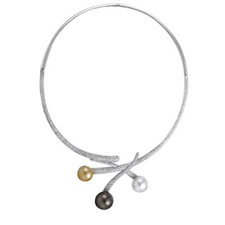Womens 18K White Gold Diamond and Pearl Choker Necklace