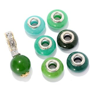 Michael Valitutti Palladium Silver Set of Seven Green Quartz Drop & Quartz Bead Slide-on Charms