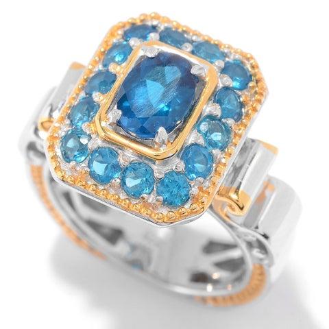 Michael Valitutti Palladium Silver Multi Shape Neon Apatite Halo Ring