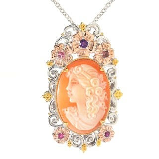 Michael Valitutti Palladium Silver Carved Shell Portrait Cameo & Multi Gem Pendant