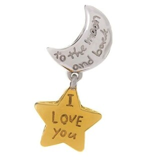 Michael Valitutti Palladium Silver To the Moon & Back Two-tone Moon & Star Drop Charm