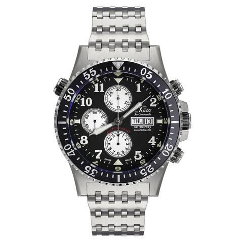 Xezo Air Commando Divers, Pilots Swiss Automatic Valjoux 7750 Chronograph Watch, Anti-Reflective Sapphire. 45 mm Diameter