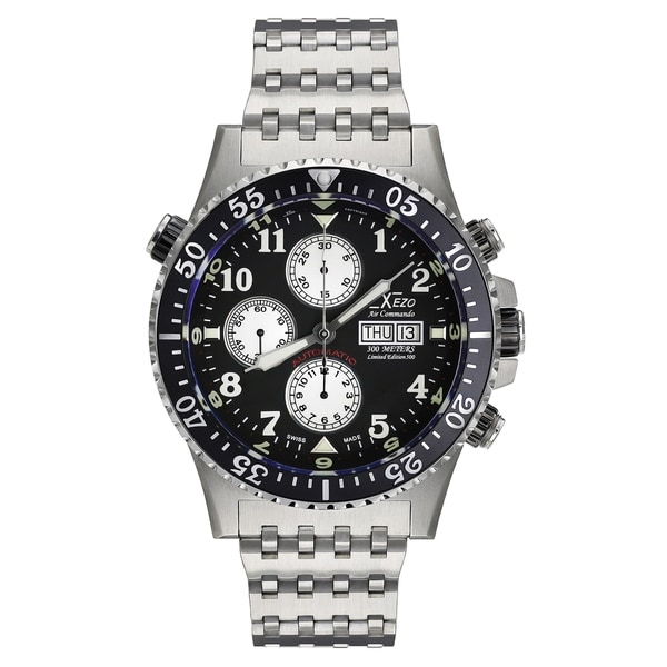 Xezo air commando divers pilots swiss automatic valjoux 7750 chronograph watch anti reflective for Xezo watches