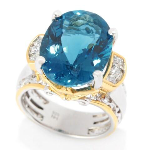 Michael Valitutti Palladium Silver Custom Cut London Blue Topaz & White Zircon Ring