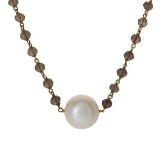 Italian Collection 18024001 18k Yellow Gold Smoky Topaz and Pearl Necklace