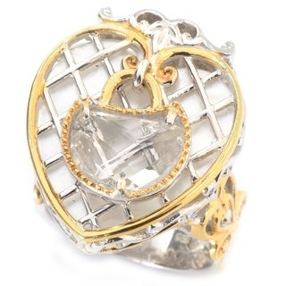 "Michael Valitutti Palladium Silver Paris ""Love Locks"" Heart Shaped Mother-of-Pearl and White Quartz Ring"