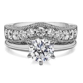 Curved Wedding Ring Set Includes 1 CT Round CZ Solitaire With Sterling Silver Band With Cubic Zirc