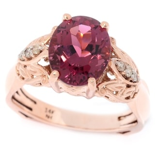 Michael Valitutti 14K Rose Gold Pink Tourmaline & Diamond Ring